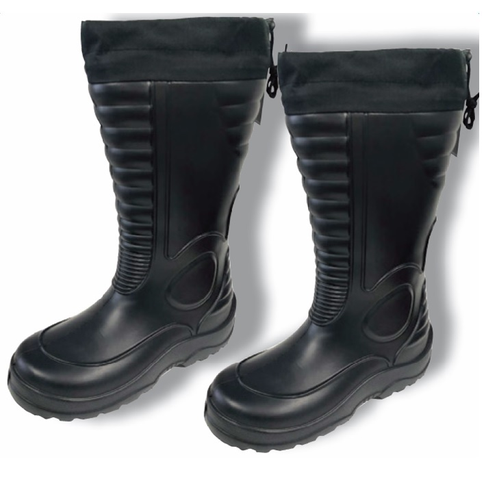Lightweight Waterproof Black Boots With Draw String Top Closure Size 13