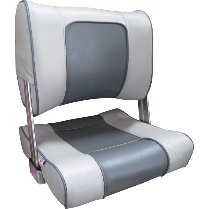 Flip Back Boat Seat Grey Charcoal Upholstery