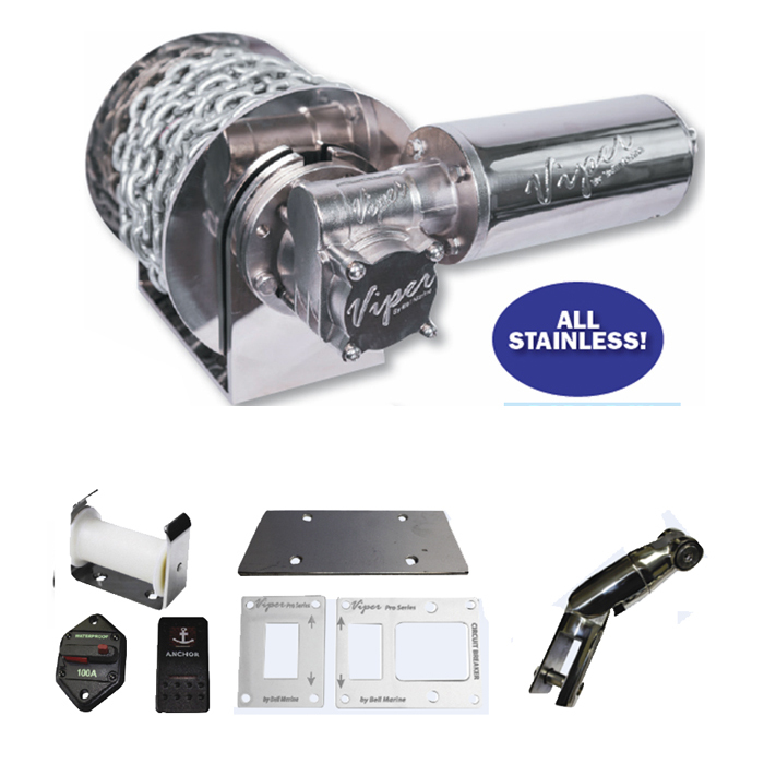 Viper Micro All Stainless Steel 1000W Electric Anchor Winch Bundle Complete With 6mm x 60m D/Braid Rope And Chain