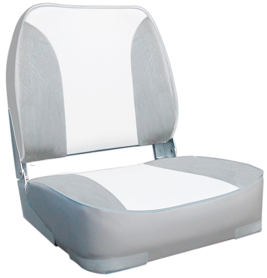 Deluxe Heavy Duty Padded White Grey Upholstered Folding Boat Seat With Aluminium Hinges Oceansouth