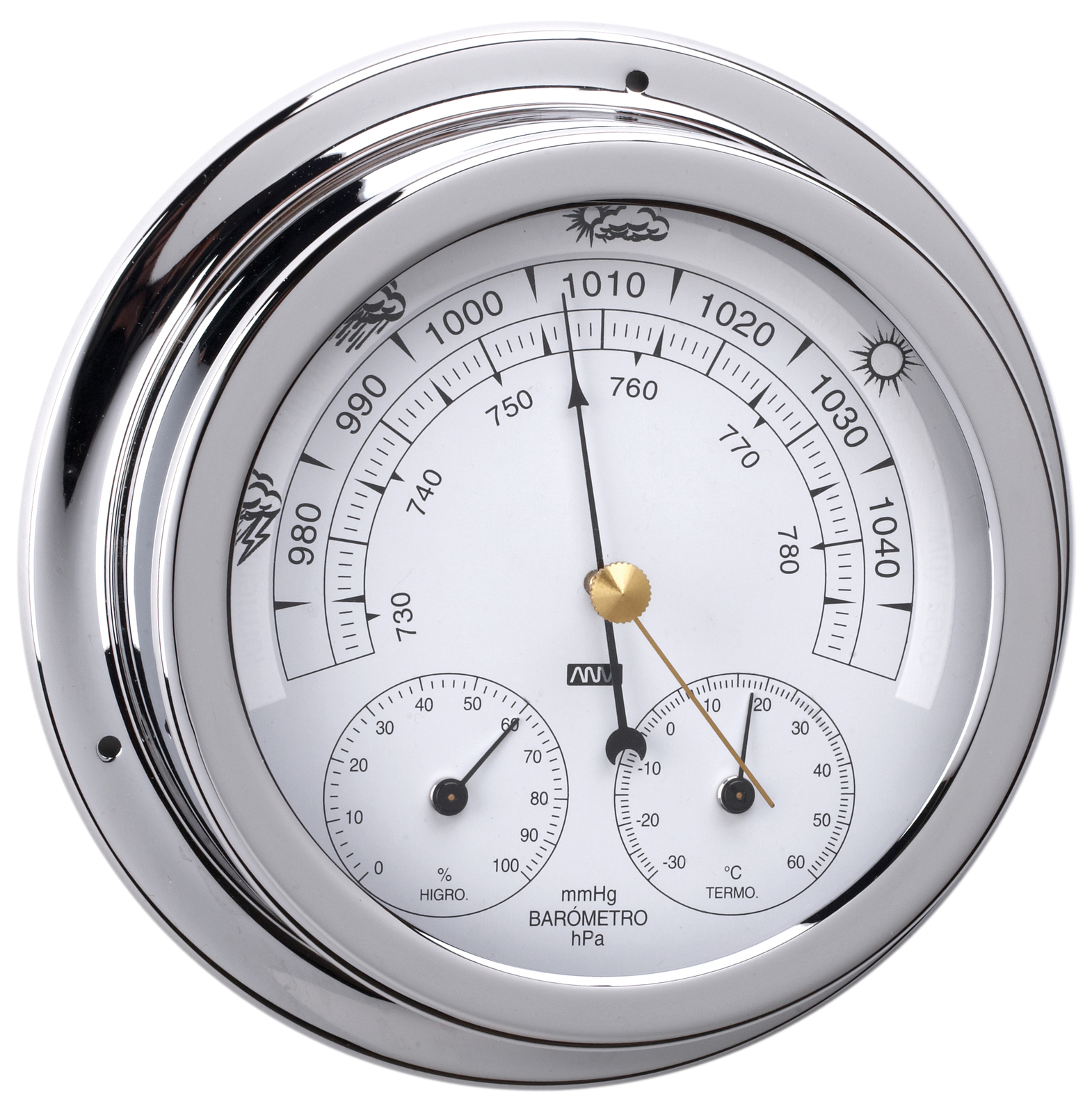 Chrome Brass Barometer, Thermometer And Hygrometer 120mm Face