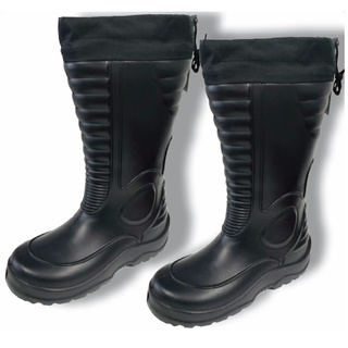 Lightweight Waterproof Black Boots With Draw String Top Closure