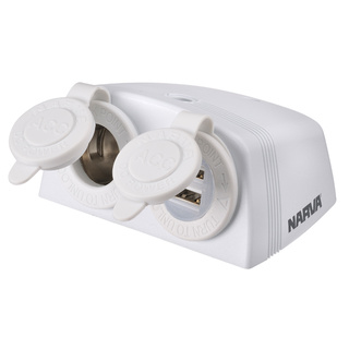Heavy Duty Accessory Socket, Dual USB Socket And Accessory Socket Surface Mount White