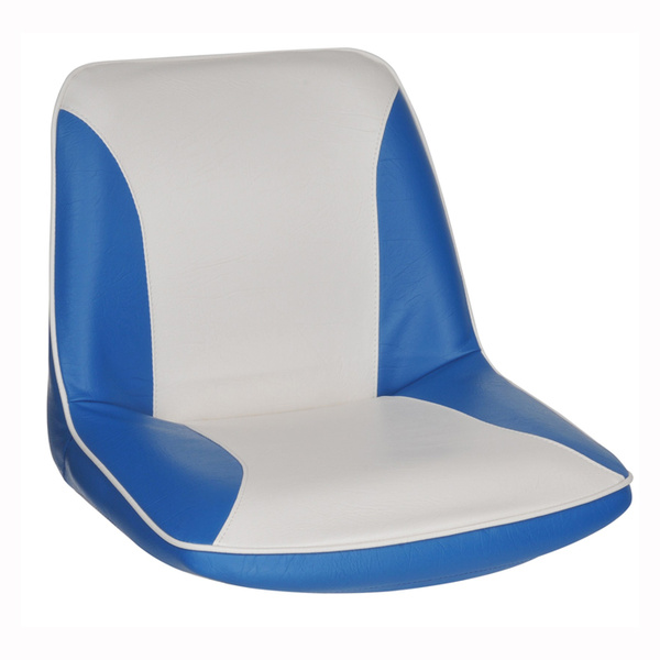 Moulded Tough Ergonomic Boat Seat With Blue And White Upholstery